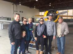Friends and us at the hangar mini museum at the site.